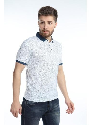 Çizgi Triko  Erkek Slim Fit Polo Yaka Tişört Kolu Lastikli Kumaş %100 Pamuk Beyaz